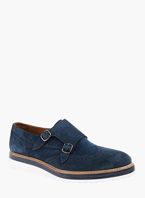 Divarese %100 Deri Çift Tokalı Ayakkabı Lacivert